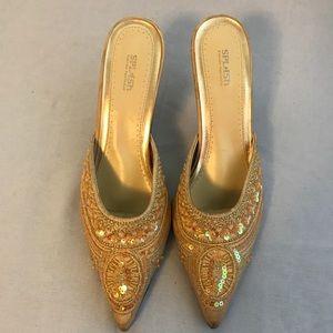 Vintage Beaded Pointed Toe Heels